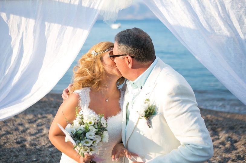 rhodes beach destination wedding ceremony in lindo