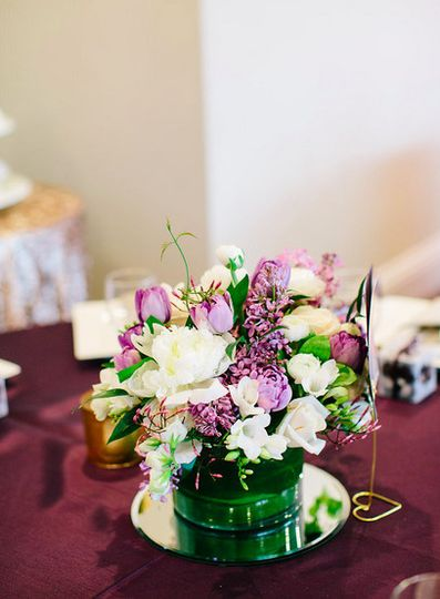 Purple floral centerpiece