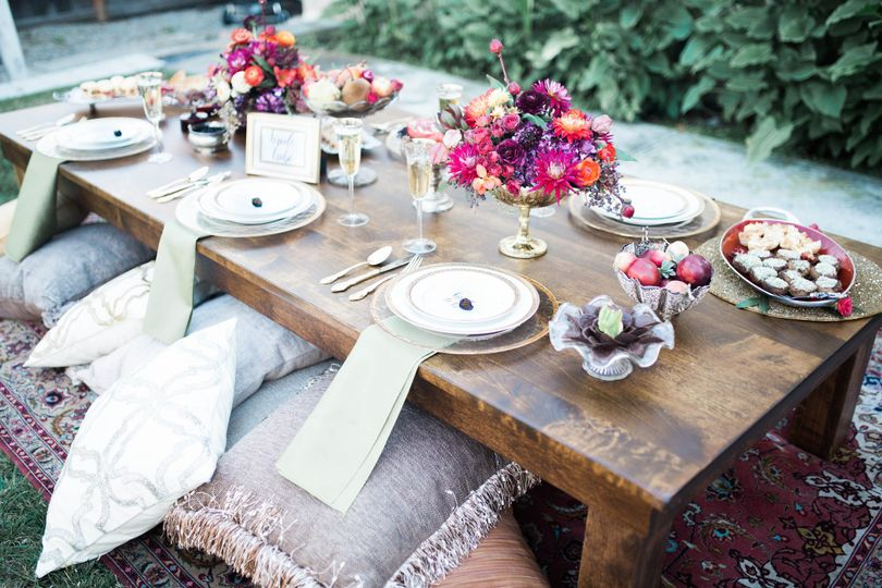 Rustic reception table