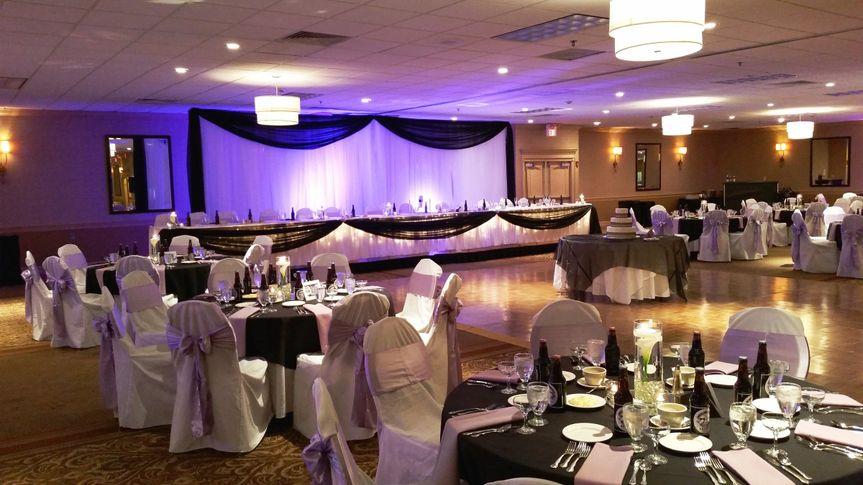 Violet lighting for wedding reception