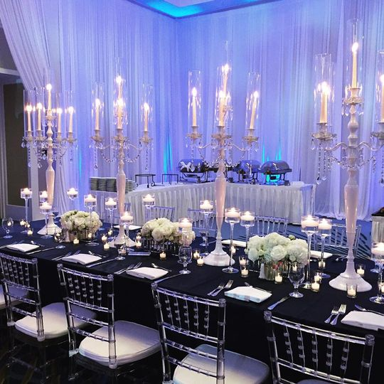 White candelabras