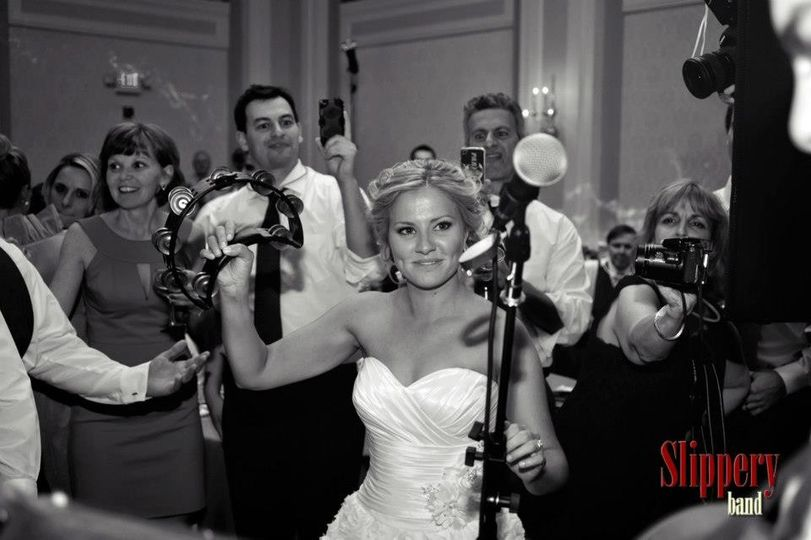 Our Bride, Emily, helps out on tambourine.