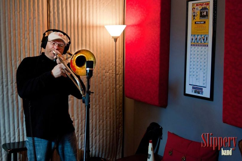 Chris during a take in the recording studio.
