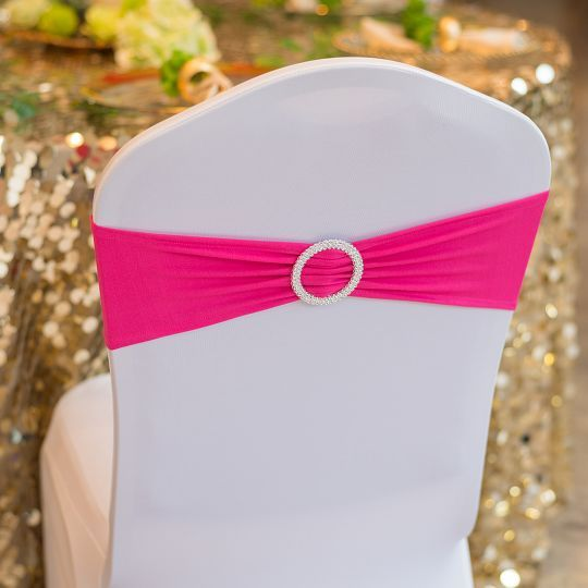 White chair cover w/ pink sash