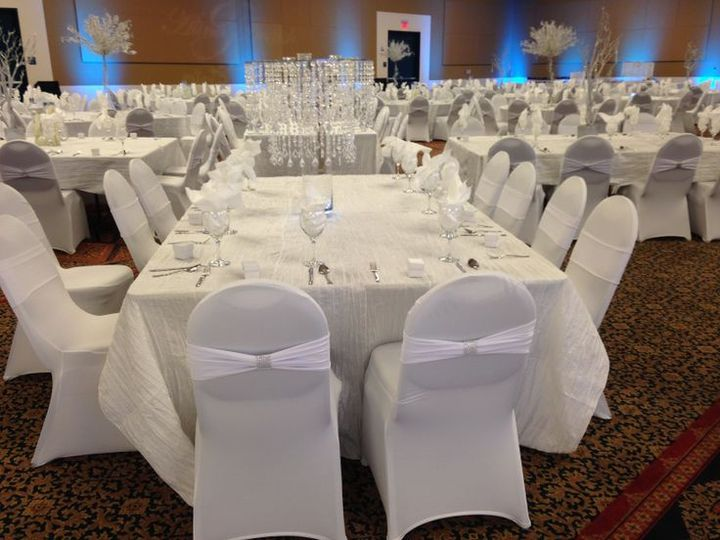 White chair cover and sash