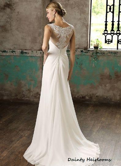 Ruched Chiffon Wedding Dress. See-thru back.