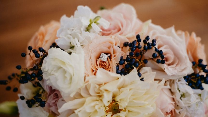 Wedding ring in a bouquet