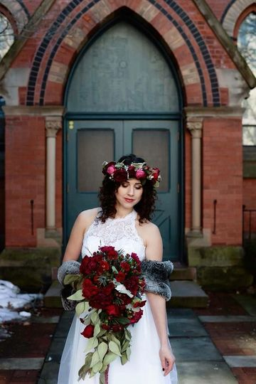 Bride and her roses