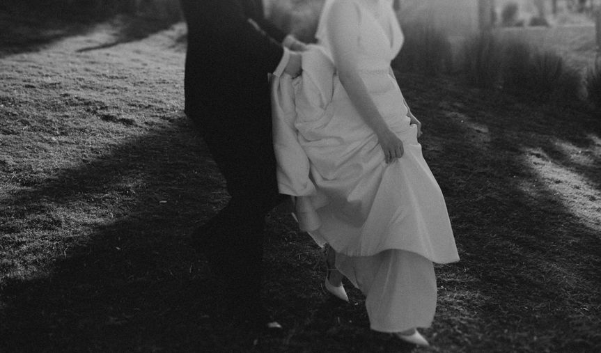Soft and romantic black-and-white photo