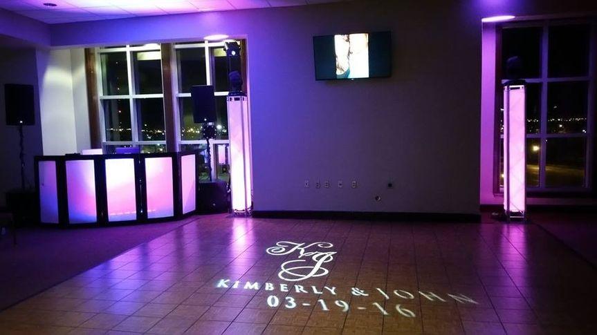 Wedding monogram light on the floor