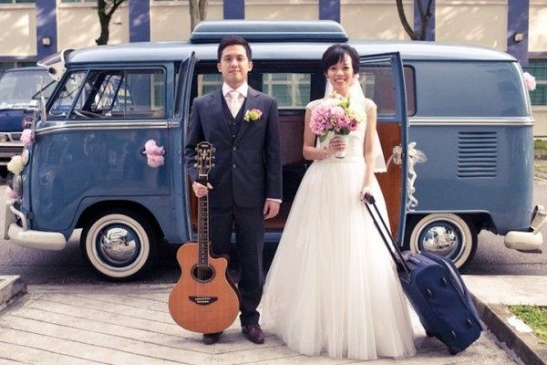 Off to the honeymoon! Neat vintage get-away idea: an old school VW bus.