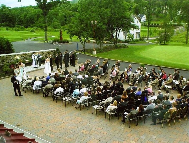 A beautiful ceremony outside on the main patio