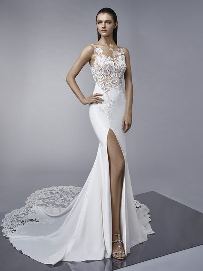 "Enzoani	Margo		""Ooh la la. Feel sultry in this classic, lace and crepe fit-and-flare gown with a..."