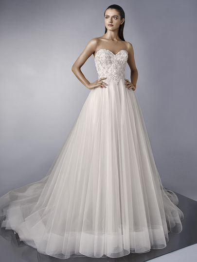 "Enzoani	Mariela		""Oh so romantic. This full-length gown features a strapless sweetheart neckline..."
