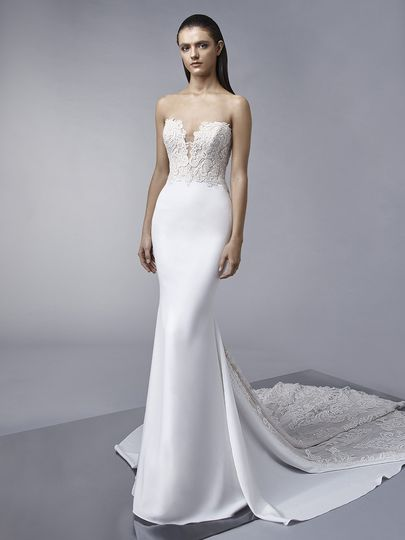 "Enzoani	Marnie		""Sleek and sophisticated, this stretch georgette mermaid gown features a sexy..."