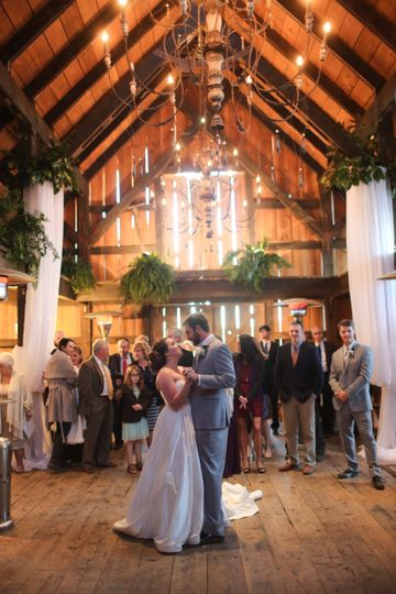 Our Dutch Style Barn features rough sawn beams, reclaimed heart pine flooring, and vintage...