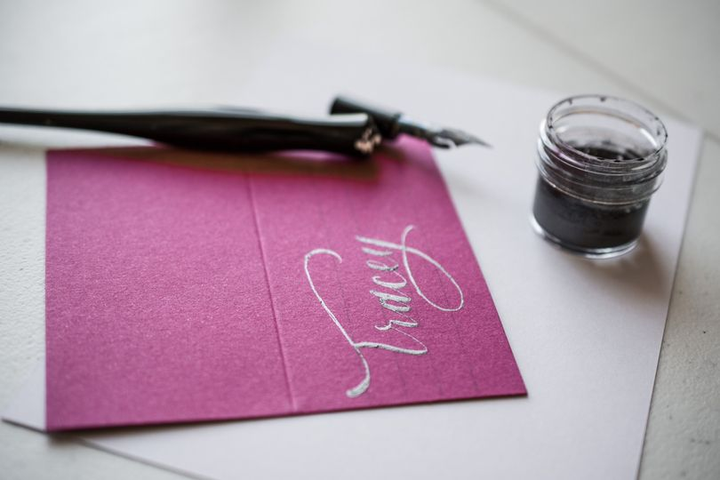 Pink card with silver ink