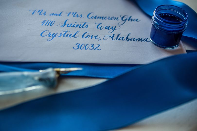 Blue ink calligraphy