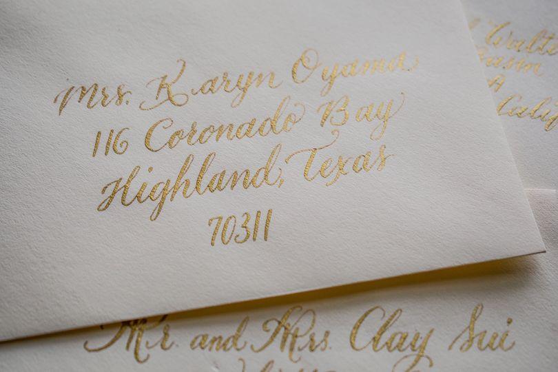 Envelopes with gold ink