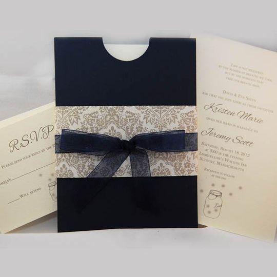 Half moon pocket invitation. Navy blue and ivory firefly theme.