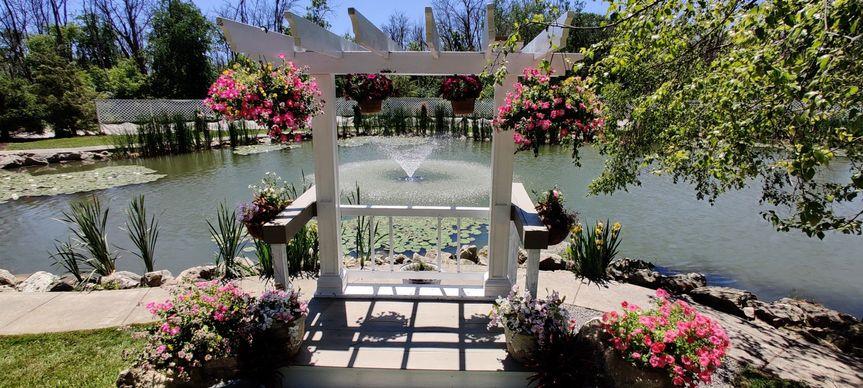 Fountain behind altar