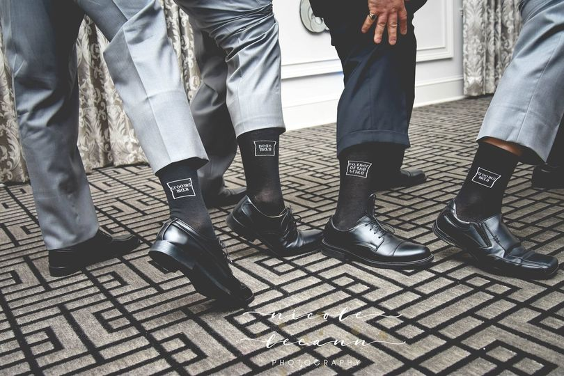 Matching socks of the groom and groomsmen