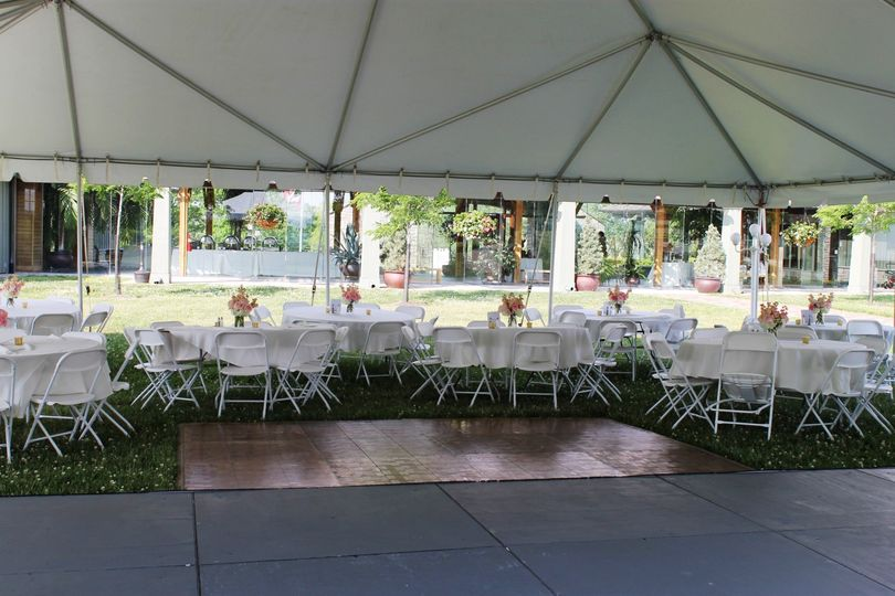 Tent with dance floor & stage