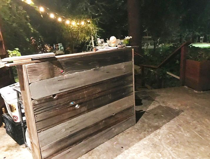 Rustic mobile bar for small events and rehearsal dinners.