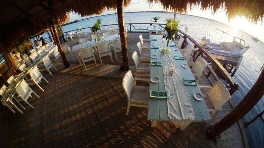 Fish eye view facing the waters