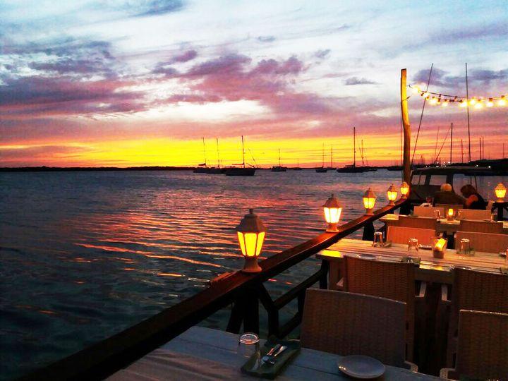 Sunset at the restaurant