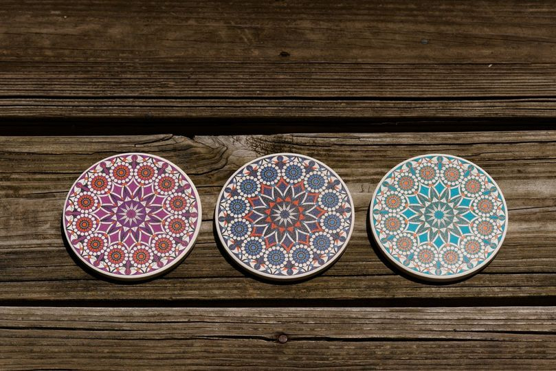 Tri-Colored Coasters on Wood