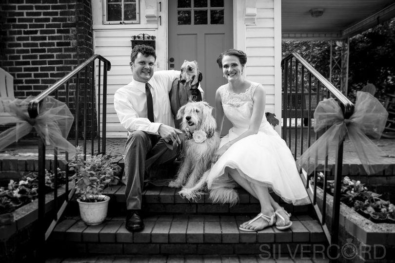 Backyard wedding portrait