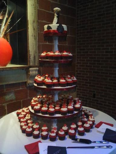 April 9th wedding cake, 150 red velvet cupcakes with cream cheese icing, 8 in red velvet top cake...