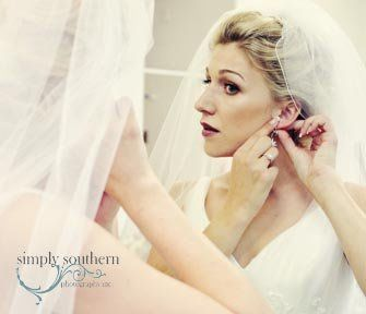 Vintage yet modern image of bride getting ready.