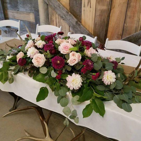 Burgundy and Blush Head Table