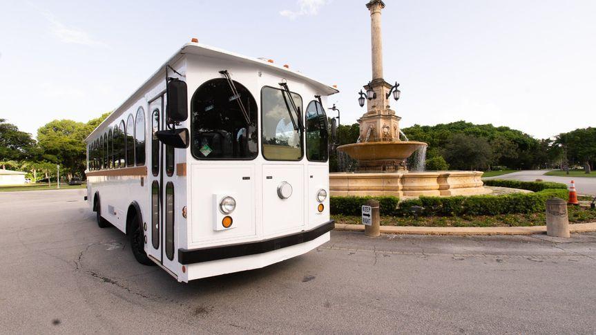 White Wedding Trolley Exterior