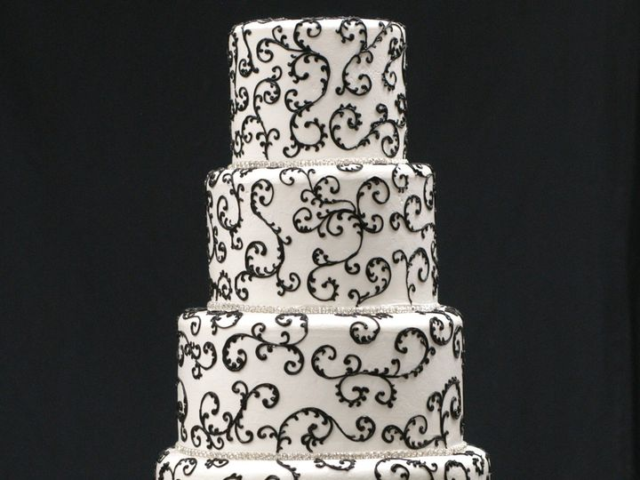 Tmx 1393209771476 5 Tier White With Black Swirl Corona wedding cake