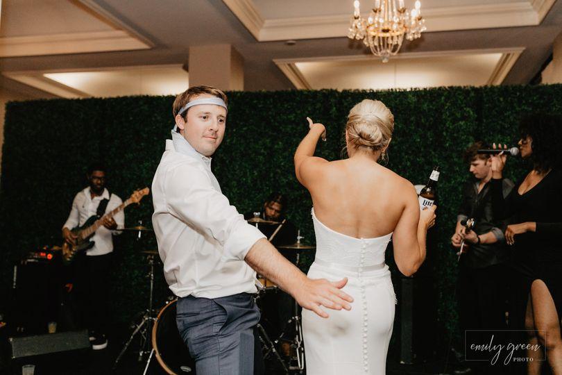 Having fun at the wedding