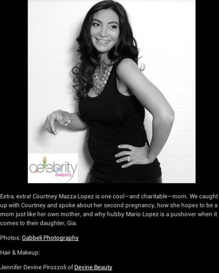 Celebrity Courtney Lopez's Hair and Airbrush Makeup for Celebrity Parents Magazine Cover Shoot by...