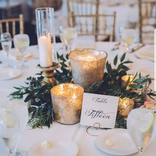 Table setting with candles as centerpiece
