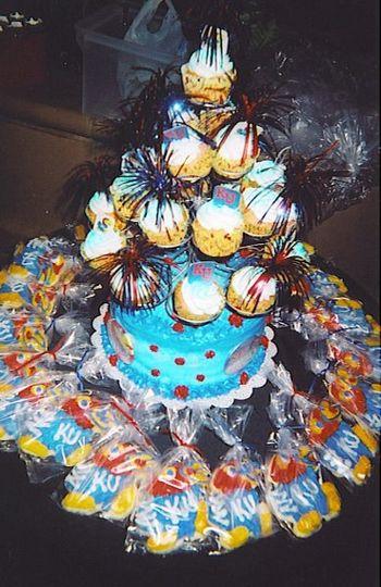 A cake & Cupcake tree with Sugar Cookie favors (Union Station Reception-Kansas City, MO)
