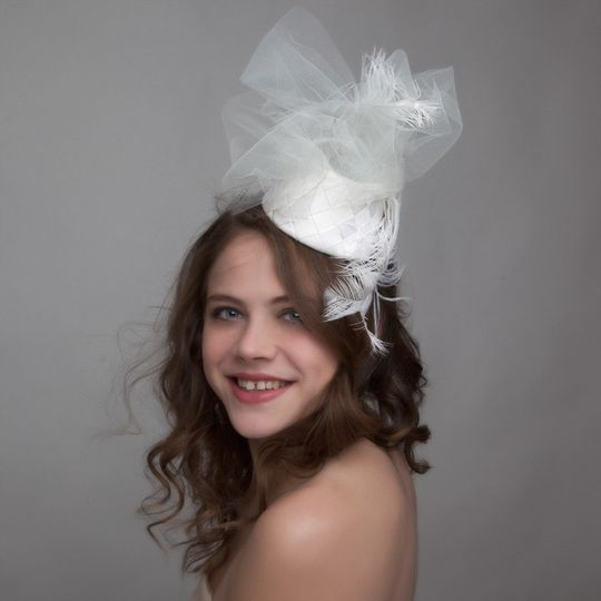 Fun flirty fascinator with veiling
