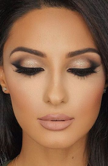 Smokey eyes and nude look