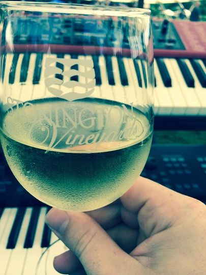 Champagne before the band equipment