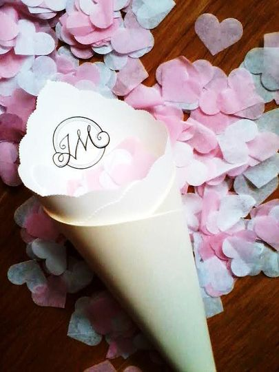 Wedding Toss/Favor Cone in Custom Colors, Fonts for Petal, Confetti, Seed, Candy, Basket, Crate,...