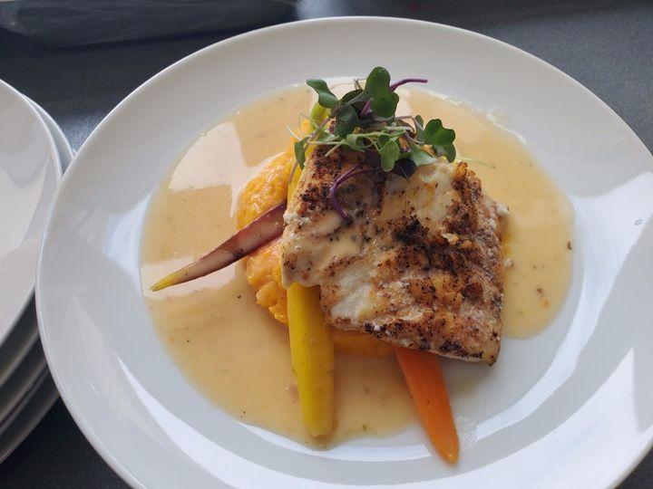 Black grouper, sweet potato