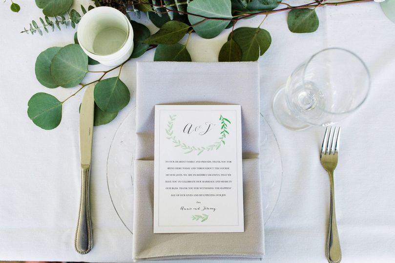 Table setting and menu card