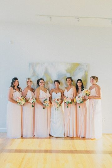 Bride and bridesmaids lined up