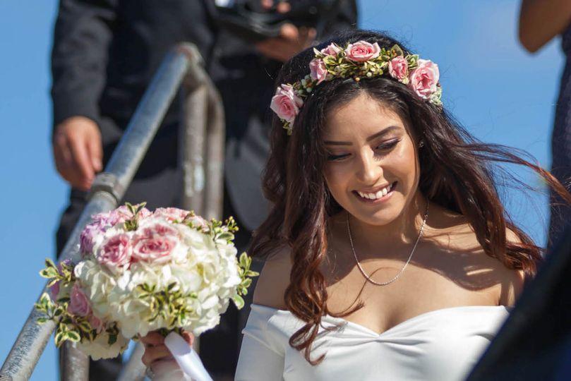 The bride walks down