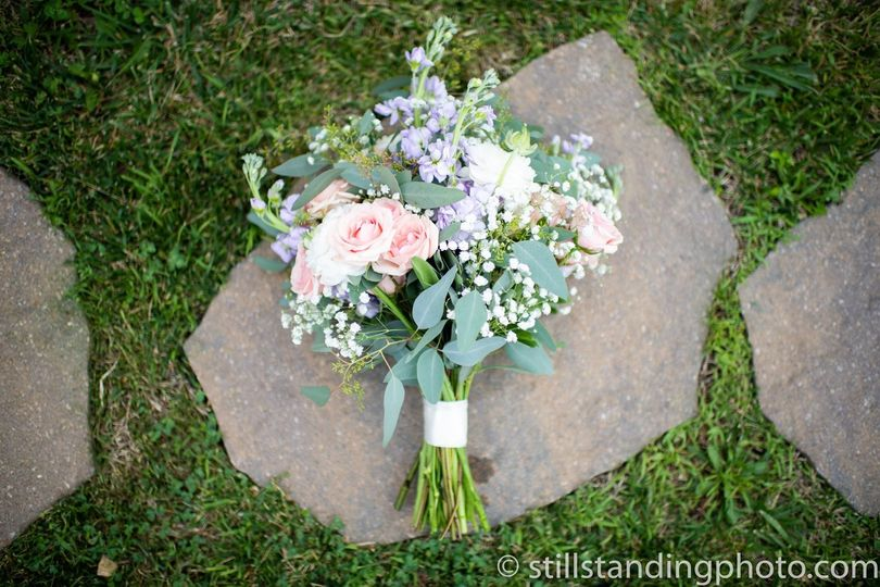 Pink and light blue bouquet